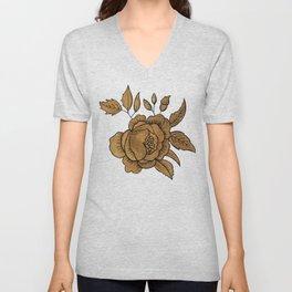 Rose in Gold Unisex V-Neck