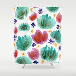 Teal and Pink Watercolor Pattern Shower Curtain