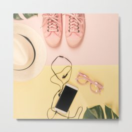 Flat lay with trendy accessories, close up Metal Print