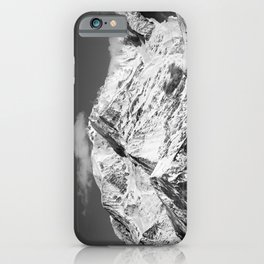 Mt. Blanc with cloud (Mono) iPhone Case