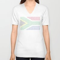 south africa V-neck T-shirts featuring digital Flag (South Africa) by seb mcnulty