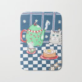 Kitty Cat Tea Time! Bath Mat