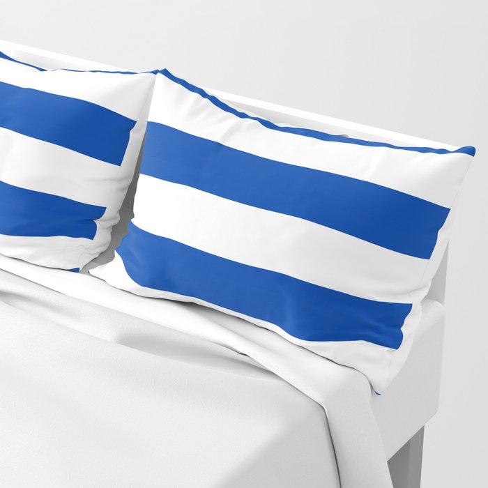 Dark Princess Blue and White Wide Horizontal Cabana Tent Stripe Pillow Sham