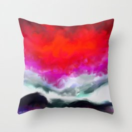 Abstract in Red, White and Purple Throw Pillow