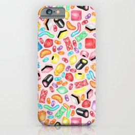 Rainbow Diet - a colorful assortment of hand-drawn candy on pale pink iPhone Case