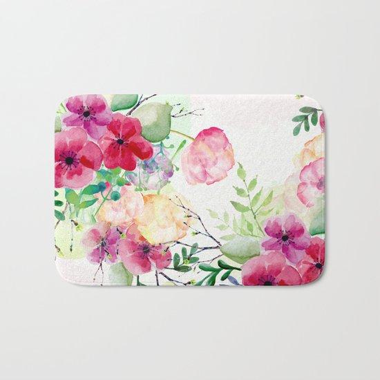 Vintage Flowers - Watercolor Floral Painting Bath Mat