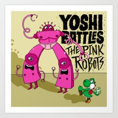 Yoshi Battles The Pink Robots Art Print