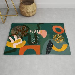 mid century shapes garden party Rug