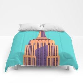Empire State Building New York Art Deco - Cyan Comforters