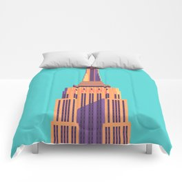 Empire State Building New York Art Deco - Cyan Comforters