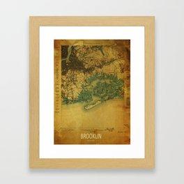 Brooklin 1898 vintage map, usa old vintage maps Framed Art Print