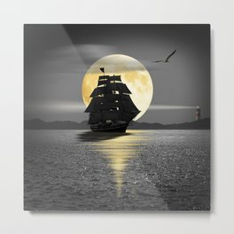 A ship with black sails Metal Print