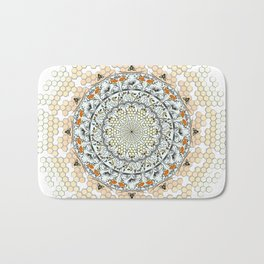 Overlapping Bee Mandala (Color) Bath Mat