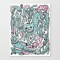 foo fighters Canvas Prints featuring Foo Dogs by Joe Pearson