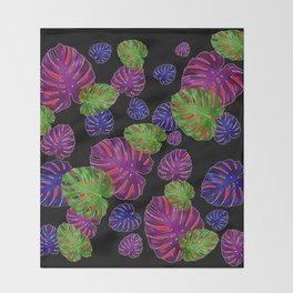 TROPICAL PURPLE-GREEN  LEAVES BLACK ART PATTERNS Throw Blanket