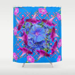 Purple & Pink Morning Glories Blue Pattern Art Shower Curtain