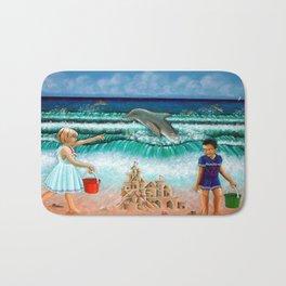 Children playing by the Seashore Bath Mat