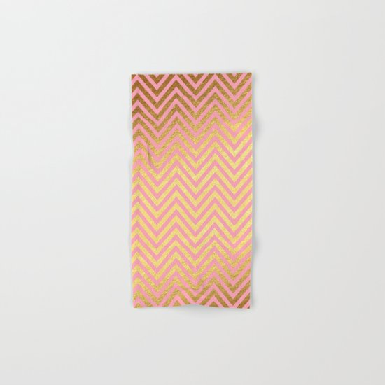 Chevron pattern rosegold- gold metal on pink watercolor Hand & Bath Towel