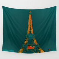 eiffel Wall Tapestries featuring Tour Eiffel by Aloke Design