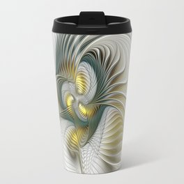 Noble And Golden, Abstract Modern Fractal Art Travel Mug