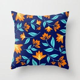 Modern Orange Blossom Floral Print Throw Pillow