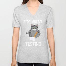 Cat Stop Animal Testing Cat Taking a Test Unisex V-Neck
