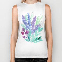 Lavender Floral Watercolor Bouquet Biker Tank