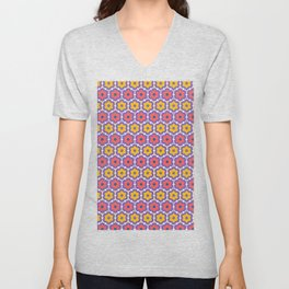 Coral red yellow daisy flower shapes. Vector pattern seamless damask background. Unisex V-Neck
