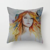 jennifer lawrence Throw Pillows featuring Jennifer Lawrence Watercolor  by Halinka H
