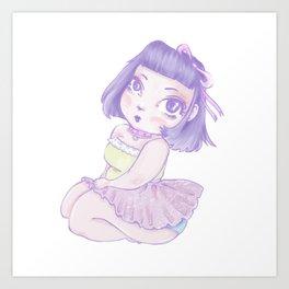 Pastel Girl purple and white Art Print