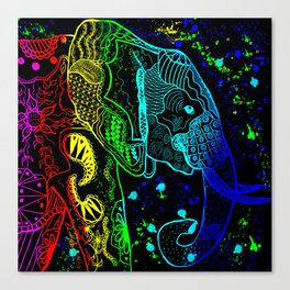 Rainbow Zentangle Elephant on Black Background Canvas Print