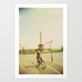 Woman on Bicycle in Berlin Art Print