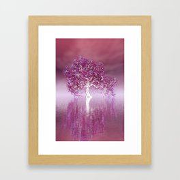 tree and red sky Framed Art Print