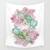 leah flores Wall Tapestries featuring Flores by Barlena