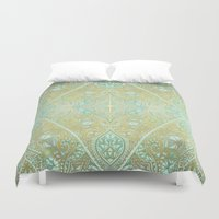 bedding Duvet Covers featuring Mint & Gold Effect Diamond Doodle Pattern by micklyn