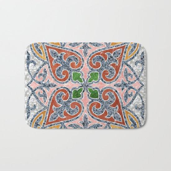 Blue Oriental Tile 03 Bath Mat