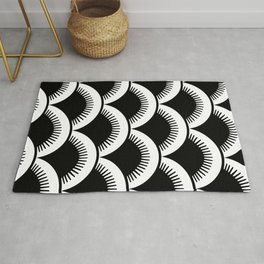 Japanese Fish Scales Black and White Rug