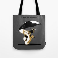 gizmo Tote Bags featuring Gizmo by The Black Lodge