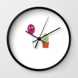 Cactus in love with balloon Wall Clock