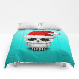 Christmas Owl Wearing a Santa Hat Comforters