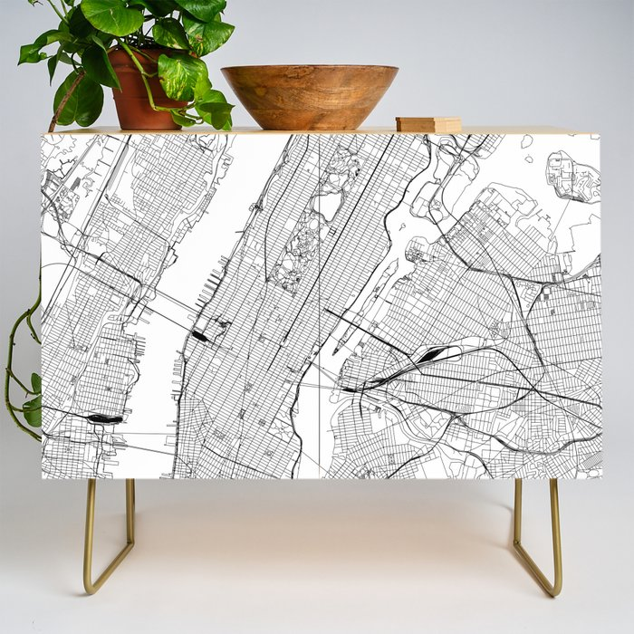New York City White Map Credenza