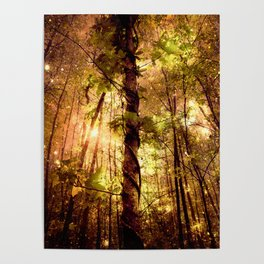 Forest of the Fairies Golden Leaves Poster