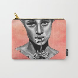 Black and White Graphite Crush on Pink Watercolor Painting Carry-All Pouch