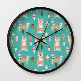 shiba inu ice cream dog breed pet pattern dog mom Wall Clock