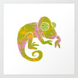 psychedelic chameleon Art Print