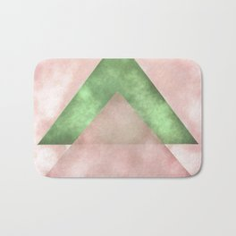 Pink and Green Triangles Geometric Abstract Bath Mat