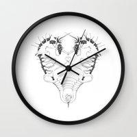 sea horse Wall Clocks featuring Sea Horse by Mengo Lee