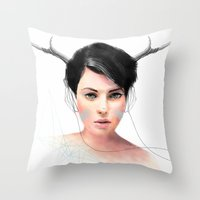 jenny liz rome Throw Pillows featuring Liz by J U M P S I C K ▼▲