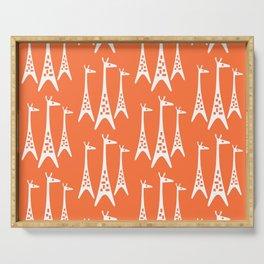 Mid Century Modern Giraffe Pattern 221 Orange Serving Tray