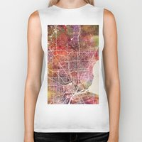 detroit Biker Tanks featuring Detroit by MapMapMaps.Watercolors